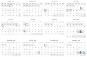 匈牙利2020年度國定假日表